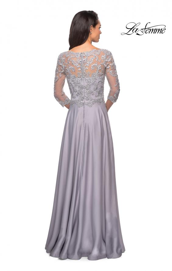 Picture of: Floor Length Satin Dress wirh Lace Detail and Pockets, Style: 27235, Detail Picture 5