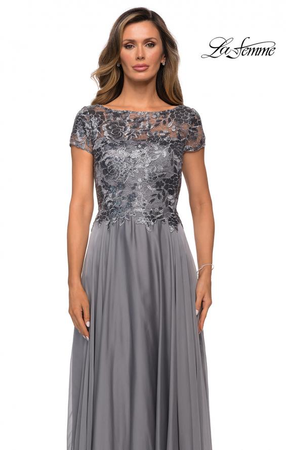 Picture of: Short Sleeve Metallic Lace Evening Dress with Chiffon Skirt in Platinum, Style: 27924, Detail Picture 5