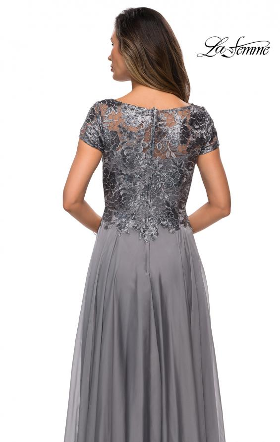 Picture of: Short Sleeve Metallic Lace Evening Dress with Chiffon Skirt in Platinum, Style: 27924, Detail Picture 6