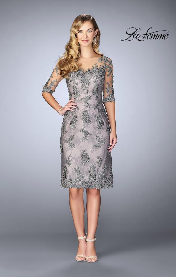 Picture of: Short Dress with Lace Applique and Illusion Sleeves in Platinum, Style: 24878, Main Picture