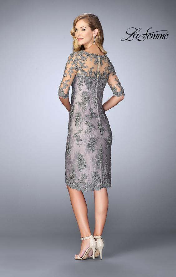 Picture of: Short Dress with Lace Applique and Illusion Sleeves in Platinum, Style: 24878, Back Picture