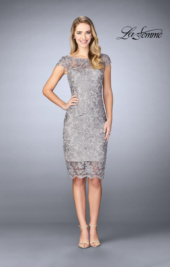 Picture of: Short Metallic Lace Dress with Sheer Top and Hem in Platinum, Style: 24861, Detail Picture 1