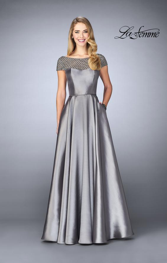 Picture of: A-line Mikado Gown with Sheer Beaded Top in Platinum, Style: 24883, Detail Picture 1