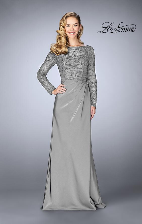 Picture of: Beaded Long Evening Gown with Sheer Sleeves in Platinum, Style: 24895, Detail Picture 1