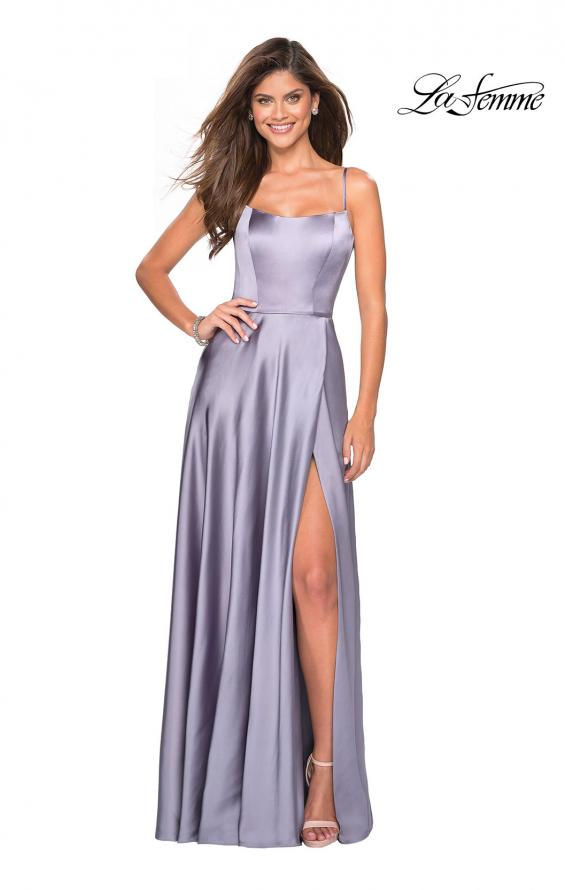 Picture of: Satin Formal Prom Gown with Scoop Neck and Pockets, Style: 26977, Main Picture