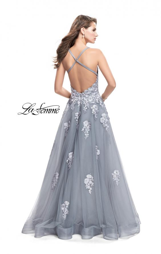 Picture of: Long Floral Lace Ball Gown with Tulle Skirt, Style: 26236, Back Picture