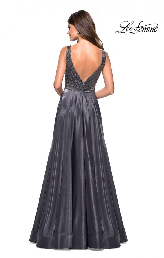 Picture of: Satin Prom Gown with beaded Bust and Pockets in Platinum, Style: 27205, Back Picture