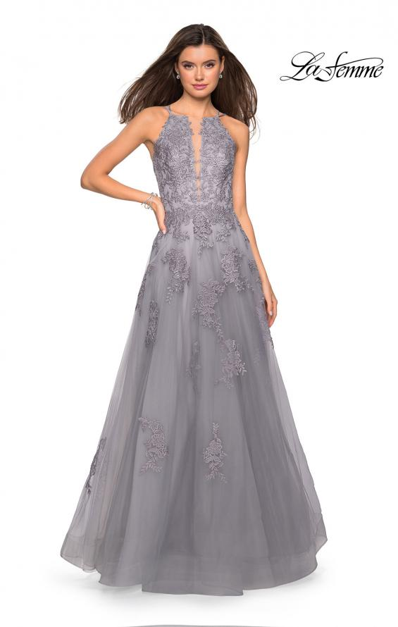 Picture of: Tulle Prom Dress with Lace Bodice and Strappy Back in Platinum, Style: 27143, Detail Picture 1