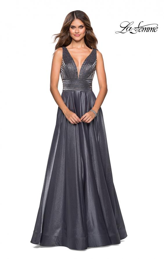 Picture of: Satin Prom Gown with beaded Bust and Pockets in Platinum, Style: 27205, Detail Picture 1