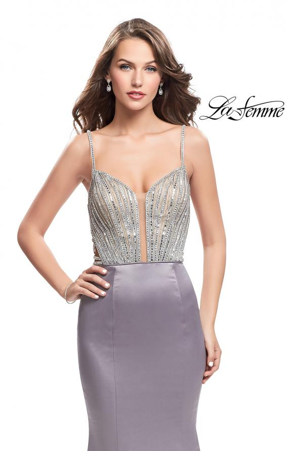 Picture of: Mermaid Prom Dress with Beaded Top and Strappy Back in Platinum, Style: 24691, Detail Picture 3