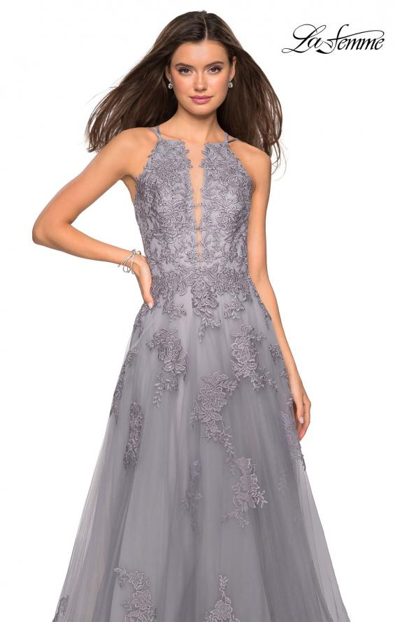 Picture of: Tulle Prom Dress with Lace Bodice and Strappy Back in Platinum, Style: 27143, Detail Picture 6