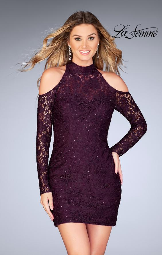 Picture of: Short Lace Dress with Shoulder Cut Outs and Open Back in Plum, Style: 25170, Detail Picture 1