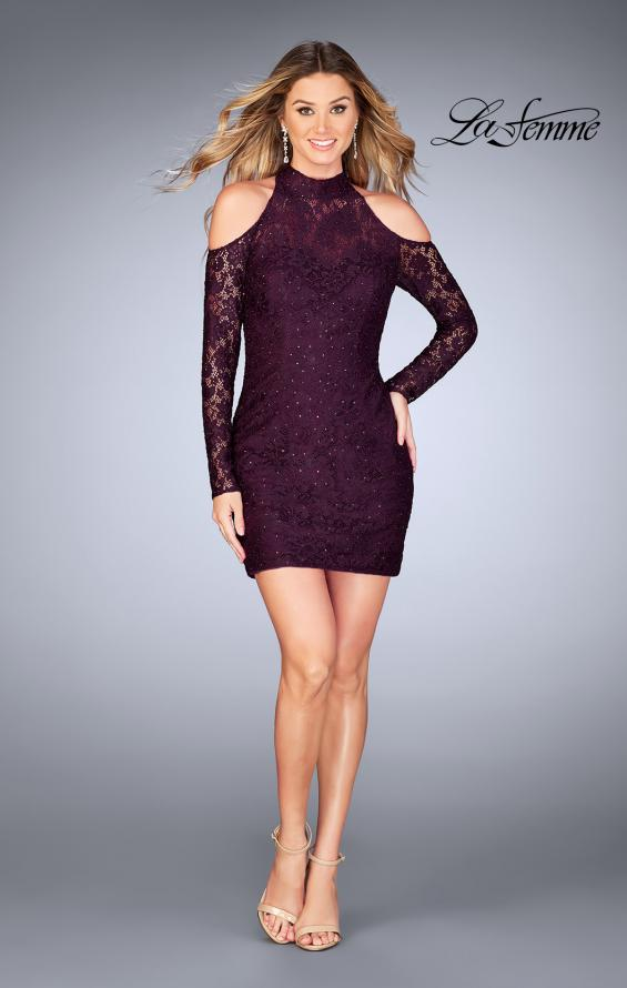 Picture of: Short Lace Dress with Shoulder Cut Outs and Open Back in Plum, Style: 25170, Detail Picture 4