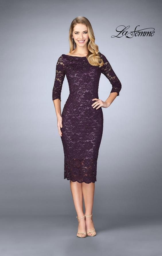 Picture of: Mid-Length Dress with Sleeves and Closed Back in Plum, Style: 24875, Detail Picture 1