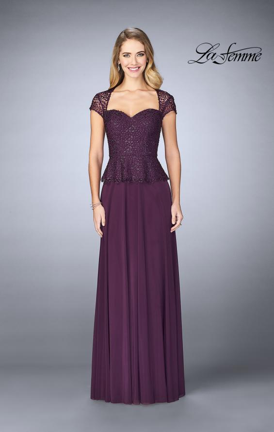 Picture of: Beaded Lace Evening Dress with Cap Sleeves and Peplum in Plum, Style: 24915, Detail Picture 1