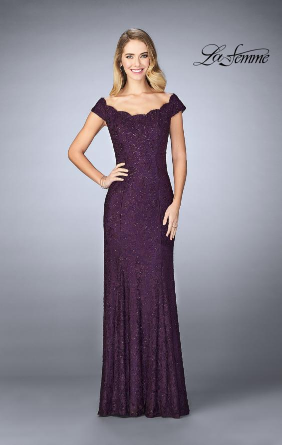 Picture of: Scalloped Off the Shoulder Lace Gown with Flare Skirt in Plum, Style: 24928, Detail Picture 1
