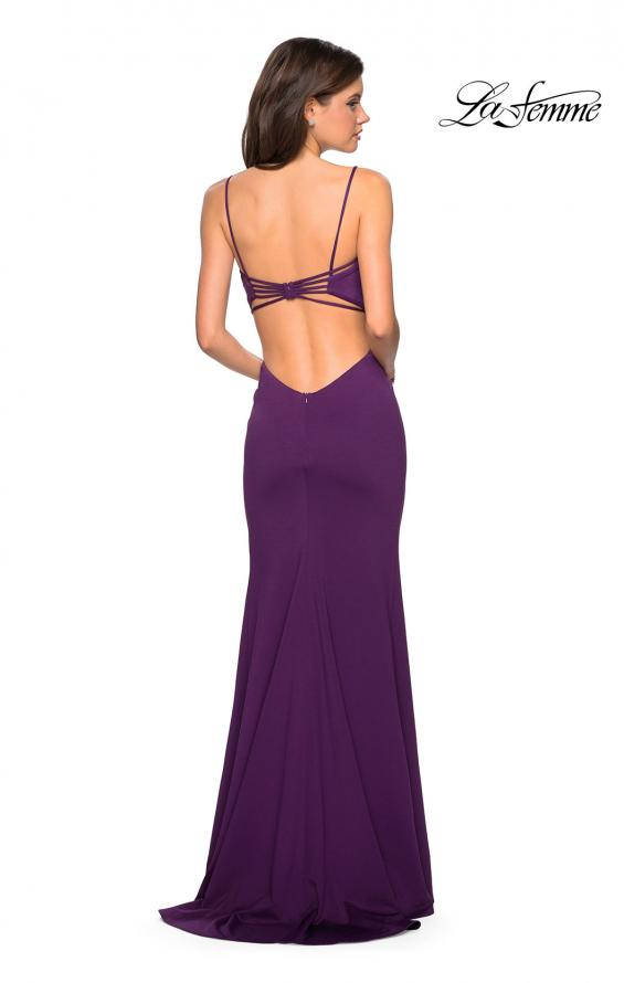 Picture of: Form Fitting Long Dress with Cut Outs and Strappy Back in Plum, Style: 27516, Detail Picture 8