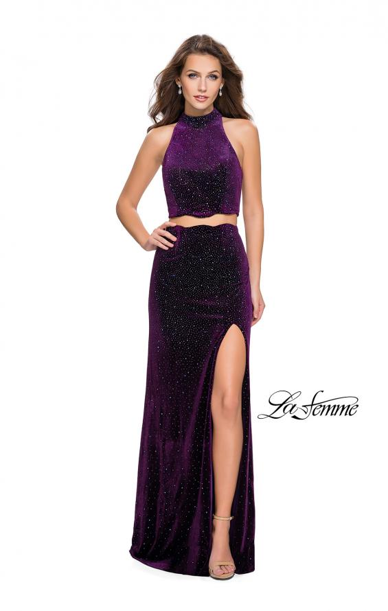 Picture of: Two Piece Velvet Prom Dress with Scallop Detail and Slit, Style: 25667, Detail Picture 5