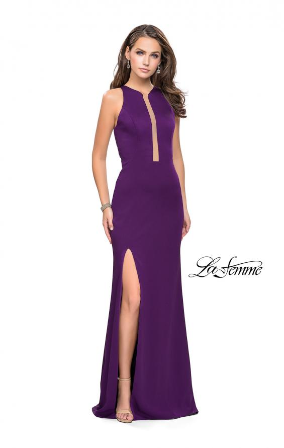 Picture of: High Neck Satin Gown with Leg Slit and Strappy Back, Style: 25962, Detail Picture 7
