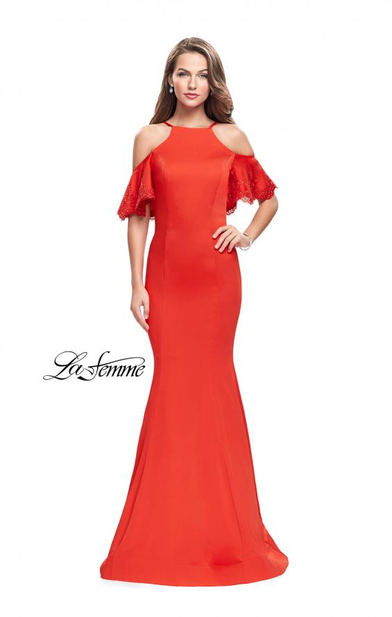 Picture of: Form Fitting Satin Mermaid Dress with Shoulder Cutouts in Poppy Red, Style: 26145, Main Picture
