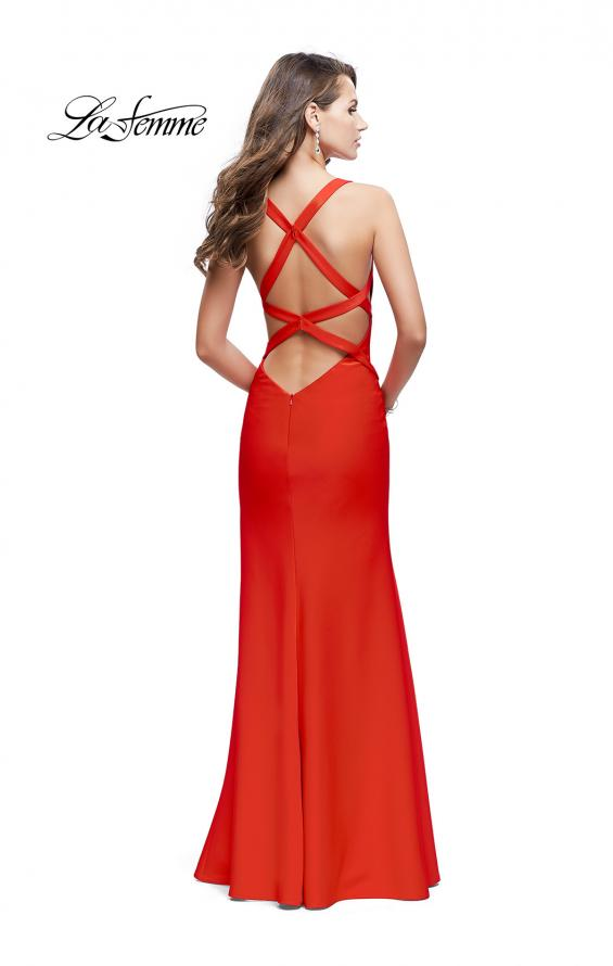 Picture of: Halter Top Prom Dress with Deep V Neckline and Slit, Style: 25904, Back Picture
