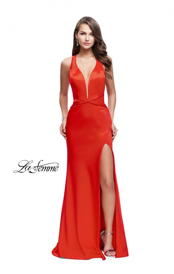 Picture of: Halter Top Prom Dress with Deep V Neckline and Slit, Style: 25904, Detail Picture 1