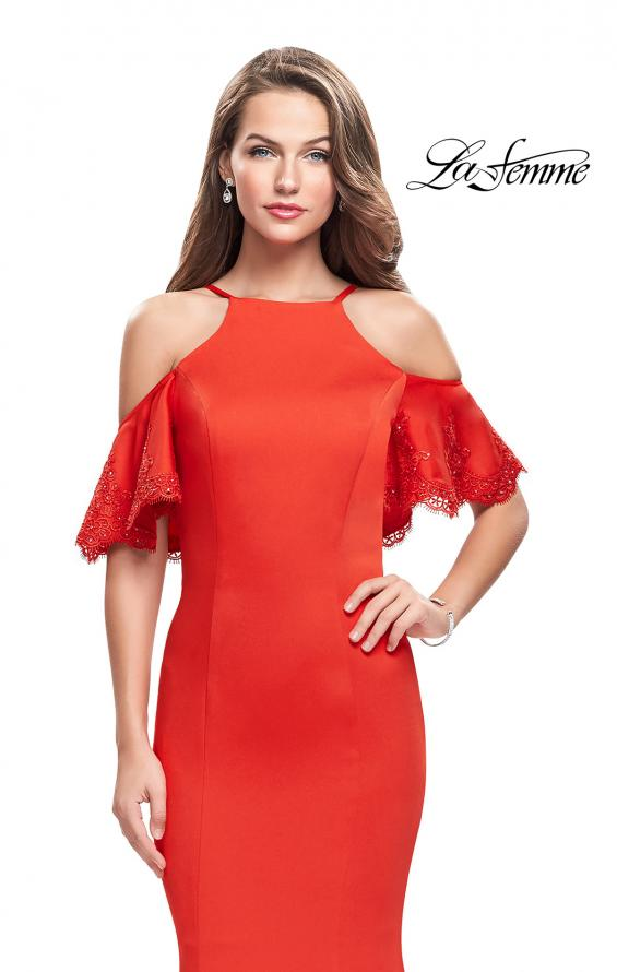 Picture of: Form Fitting Satin Mermaid Dress with Shoulder Cutouts in Poppy Red, Style: 26145, Detail Picture 2