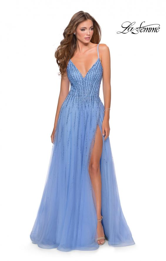 Picture of: Tulle Dress with Cascading Rhinestone Detail in Powder Blue, Style: 28636, Detail Picture 1