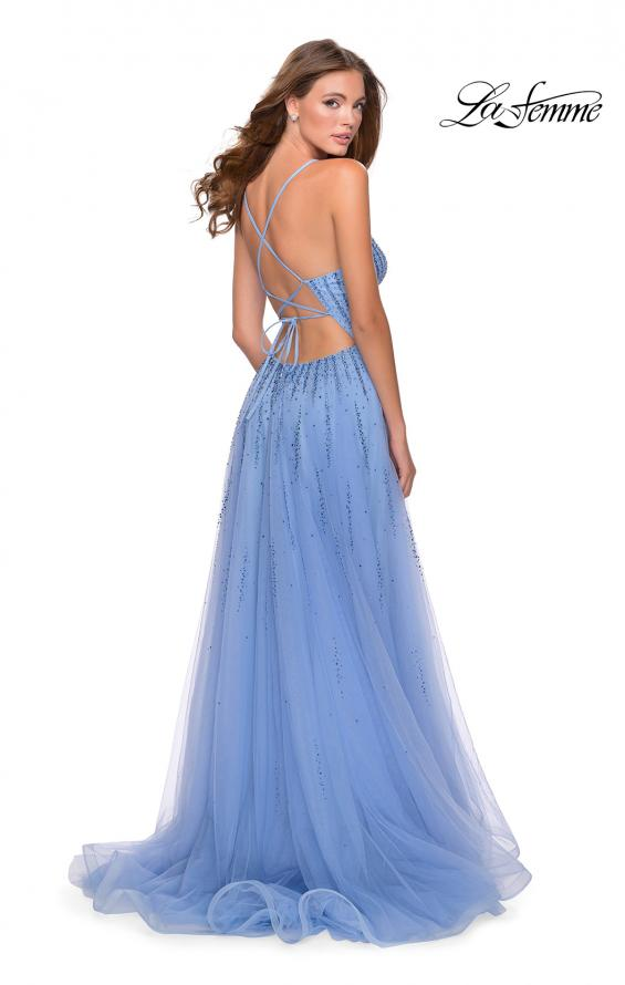 Picture of: Tulle Dress with Cascading Rhinestone Detail in Powder Blue, Style: 28636, Detail Picture 2