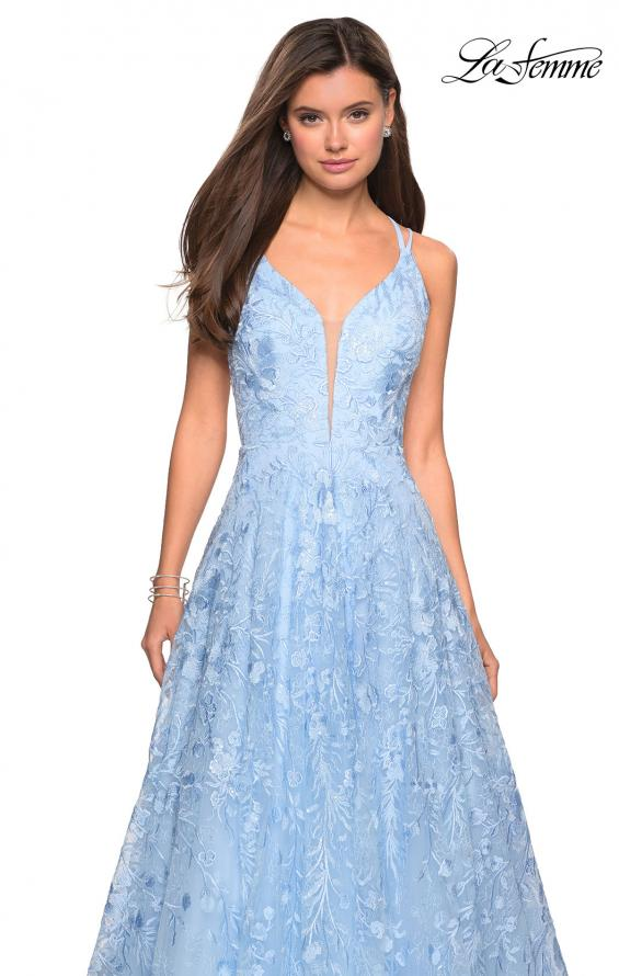Picture of: Pastel A-Line Floral Prom Dress with Strappy Back in Powder Blue, Style: 27759, Detail Picture 3
