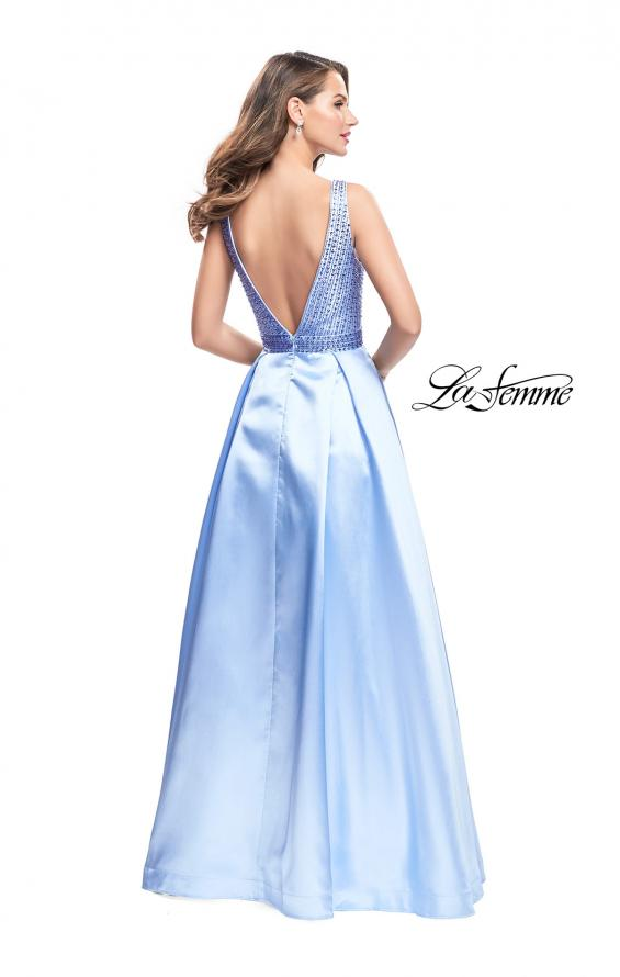 Picture of: A-line Pleated Satin Prom Gown with Metallic Beading in Powder Blue, Style: 26293, Back Picture