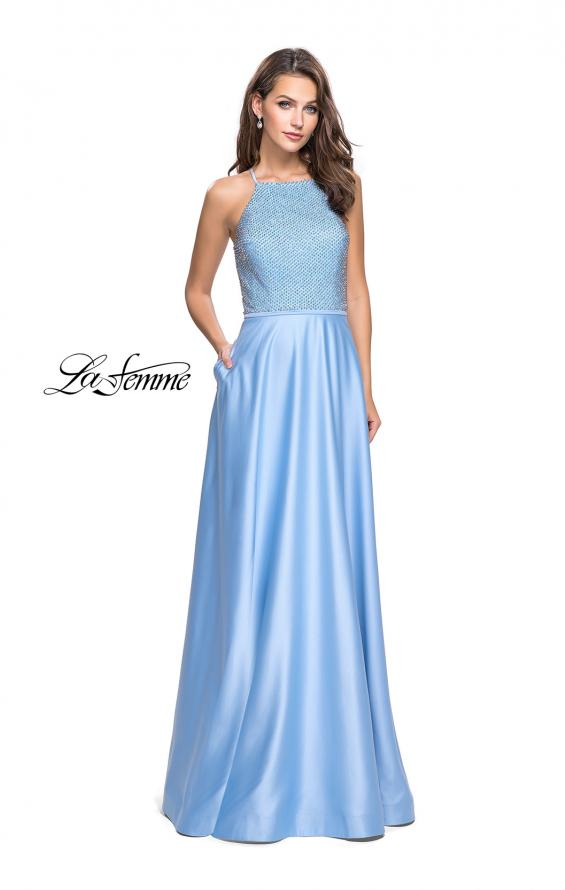 Picture of: Satin A-line Ball Gown Featuring Beading and a High Neck in Powder Blue, Style: 25601, Detail Picture 1
