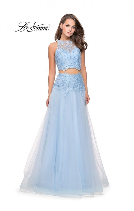 Picture of: Beaded and Lace Two Piece Dress With Tulle Skirt in Powder Blue, Style: 26309, Detail Picture 1
