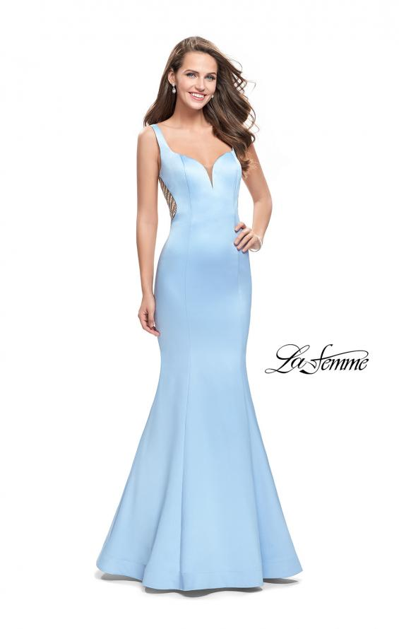 Picture of: Long Mermaid Gown with Sheer Deep V and Beading, Style: 25454, Detail Picture 2