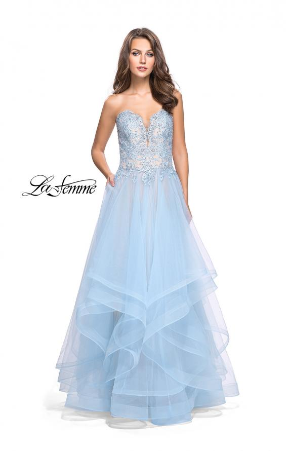 Picture of: Strapless Ruffle Tulle Ball Gown with Beaded Lace Bodice in Powder Blue, Style: 25515, Detail Picture 2