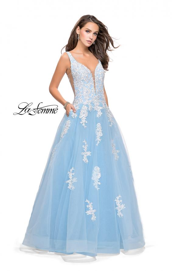 Picture of: Long Tulle Ball Gown with Lace Applique and Side Cut Outs, Style: 25624, Detail Picture 2