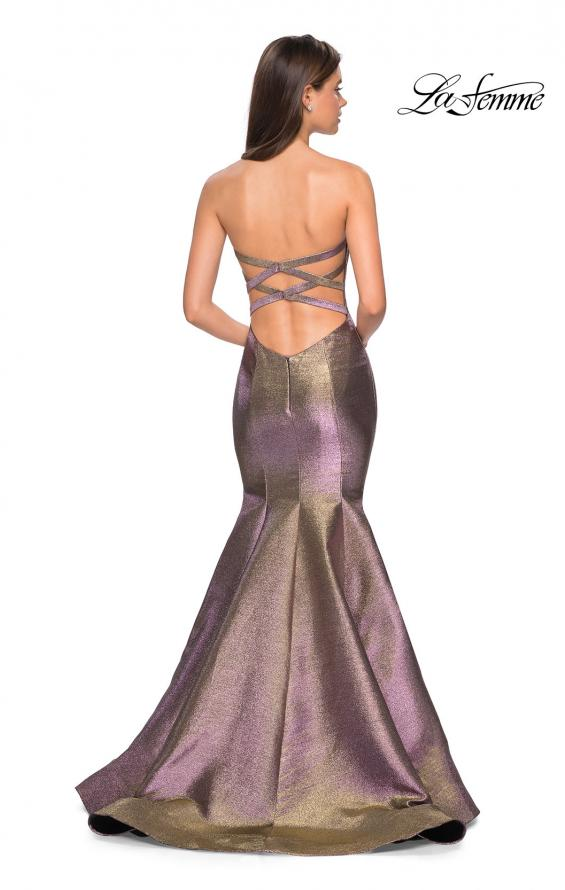 Picture of: Metallic Jersey Mermaid Strapless Prom Dress, Style: 27638, Back Picture