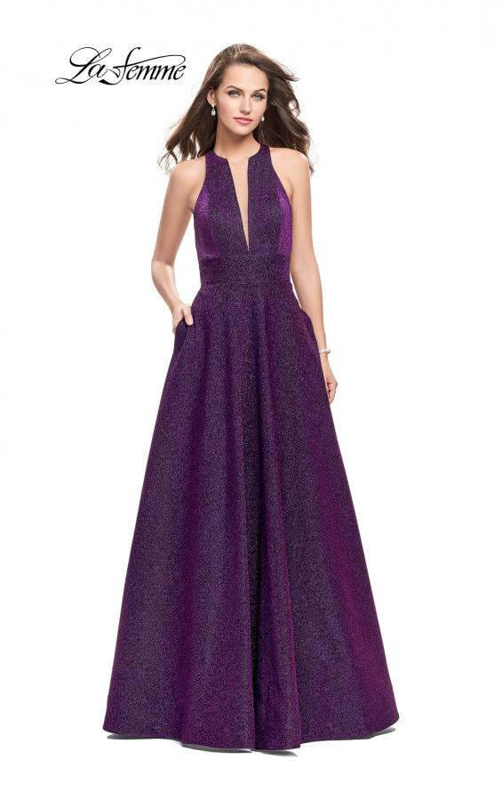 Picture of: Long Sparkling Prom Dress with High Neck and Cut Outs in Purple, Style: 26073, Main Picture