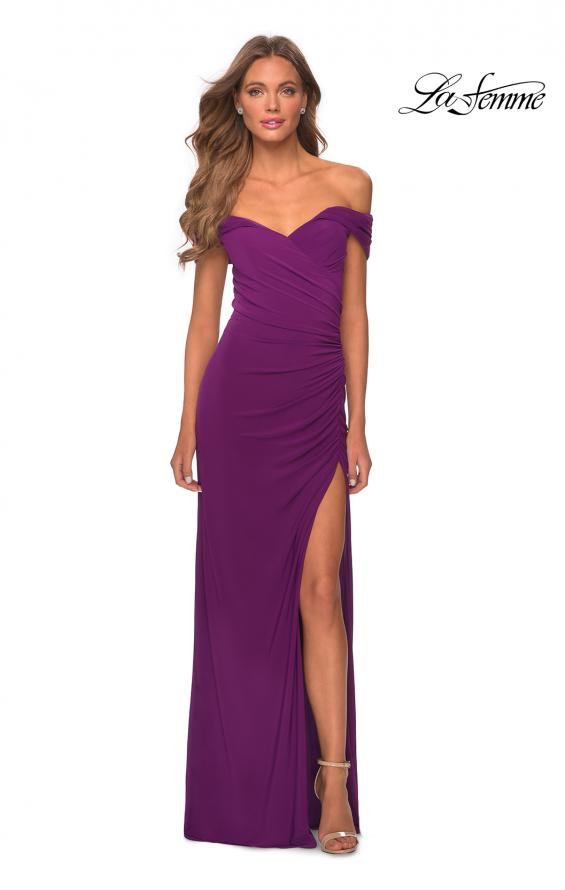 Picture of: Off the Shoulder Fully Ruched Floor Length Gown in Purple, Style: 28389, Detail Picture 8