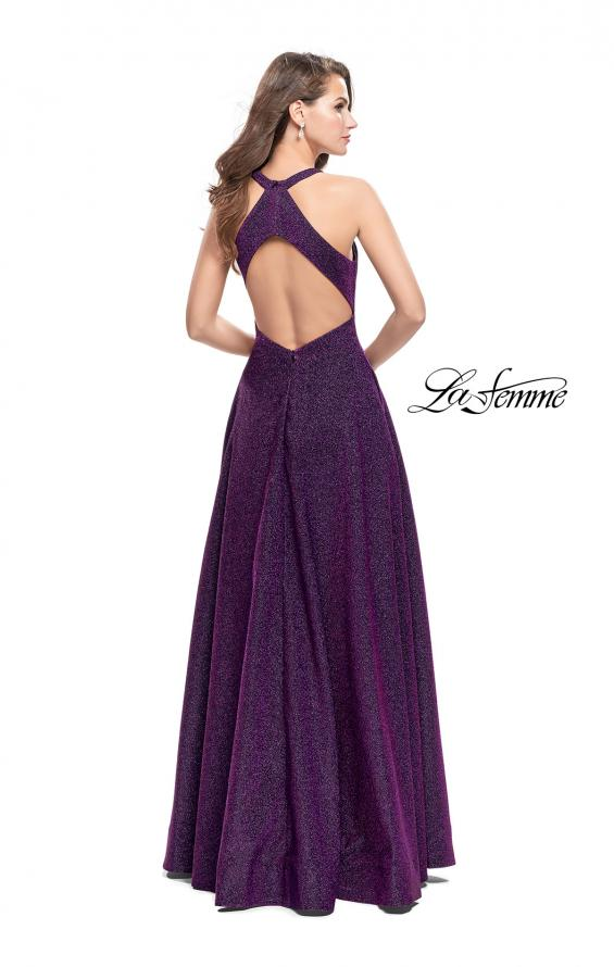 Picture of: Long Sparkling Prom Dress with High Neck and Cut Outs in Purple, Style: 26073, Back Picture