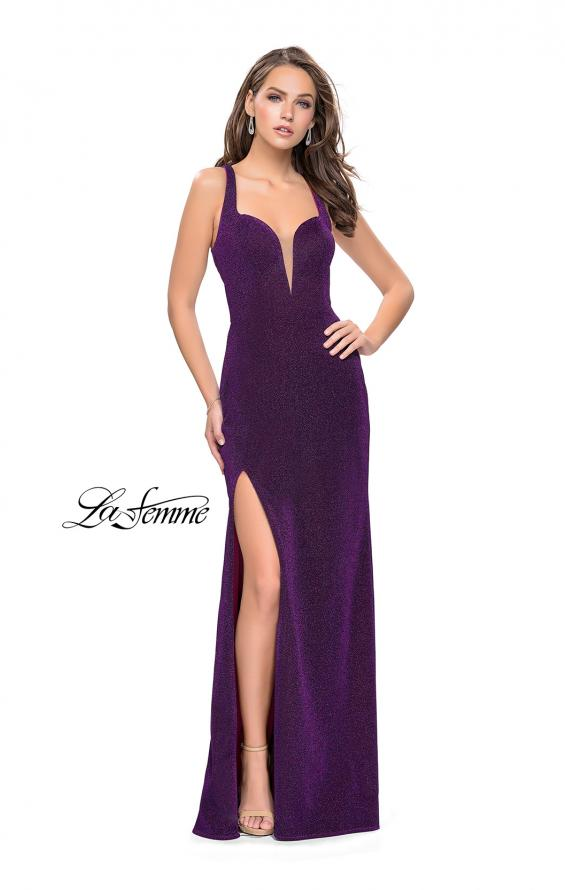 Picture of: Form Fitting Jersey Gown with Leg Slit and Open Back in Purple, Style: 25901, Detail Picture 1