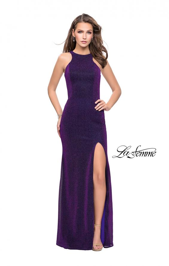 Picture of: Sparkling Jersey Prom Dress with High Neck and Slit, Style: 25908, Detail Picture 1
