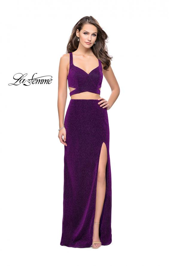 Picture of: Long Jersey Two Piece Prom Dress with Side Cut Outs in Purple, Style: 25597, Detail Picture 2