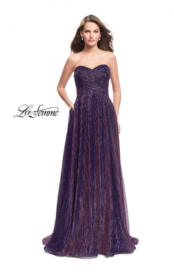 Picture of: Pleated Lame A-line Prom Dress with Ruched Bodice in Purple, Style: 25886, Detail Picture 2