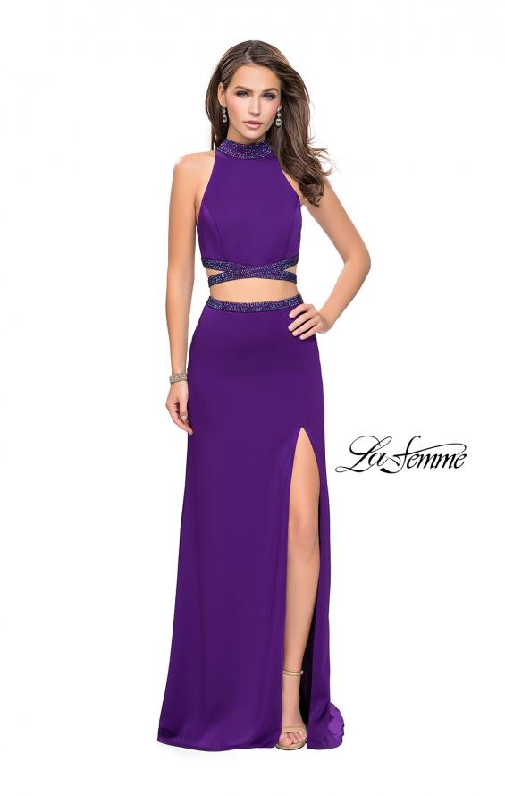 Picture of: Two Piece Prom Gown with Beaded Choker and Leg Slit, Style: 25746, Detail Picture 3
