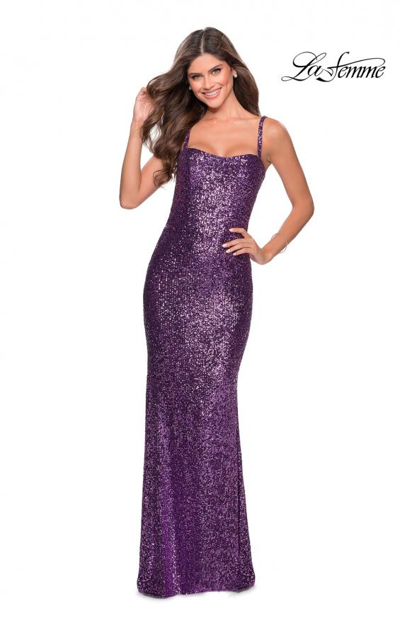 Picture of: Long Sequin Prom Dress with Straight Neckline in Purple, Style: 28698, Detail Picture 4