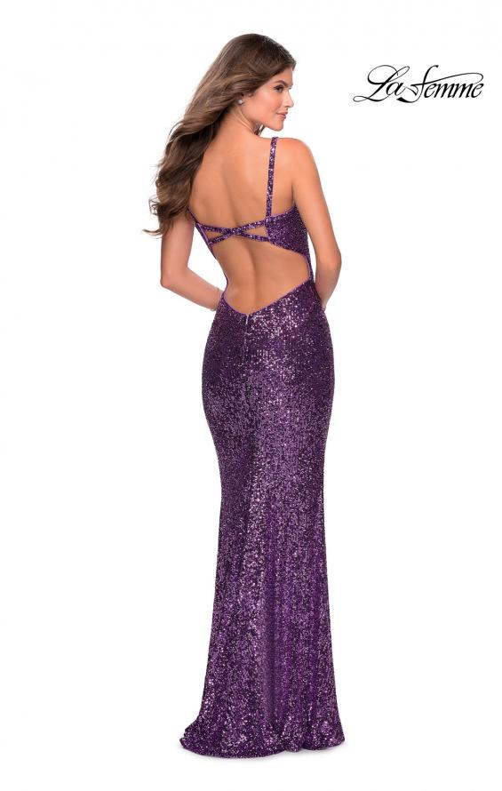 Picture of: Long Sequin Prom Dress with Straight Neckline in Purple, Style: 28698, Detail Picture 5