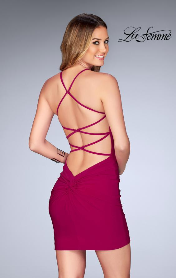 Picture of: Short Halter Homecoming Dress with Criss Cross Back in Raspberry, Style: 25141, Back Picture