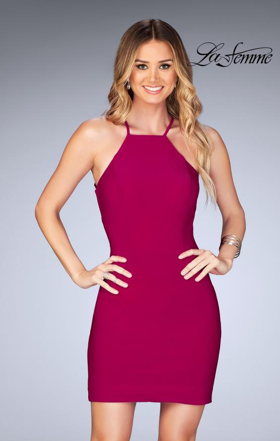 Picture of: Short Halter Homecoming Dress with Criss Cross Back in Raspberry, Style: 25141, Detail Picture 1