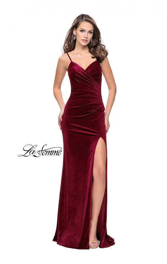Picture of: Velvet Prom Dress with Strappy Back and Small Train, Style: 25184, Detail Picture 1